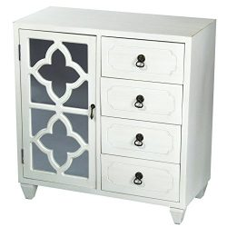 Heather Ann Creations 4 Drawer Wooden Accent Chest and Cabinet, Clover Pattern Grille with Mirro ...