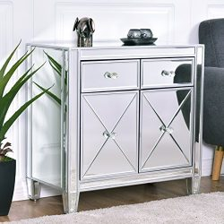 Giantex Mirrored Cabinet with Drawers Accent Cabinet Storage Chest, Silver