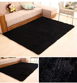 HUAHOO Super Soft Indoor Modern Shag Area Silky Rugs Dining Room Living room Bedroom Rug Baby Nu ...