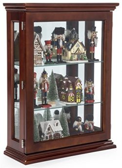 Displays2go, Mirrored Cherry Curio Display Tempered Glass, Plywood, Solid Mahogany Veneer – Dark ...