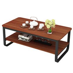 """gootrades 47"""" Rectangular Coffee Table, 2 Tier Open Storage Shelf, Sofa Tables, Cocktail T ..."""