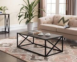Grey Finish / Black Frame X-Design Sides Occasional Coffee Table 44″W