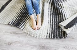 Woven Wool Area Rug Gray / Grey Striped for Living Room Natural Carpet Modern / Scandinavian Hom ...