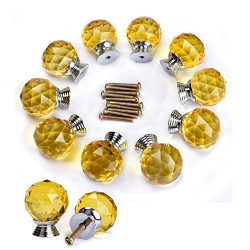 Do4U 10pcs 30mm Crystal Glass Cabinet Knob Drawer Pull Handle Kitchen Door Wardrobe Hardware Use ...