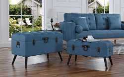 2-Piece Classic Tufted Linen Fabric Storage Chests / Accent Table / Bench (Blue)