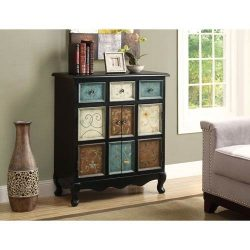 Hawthorne Ave Accent Chest – Black / Multi-Color Apothecary Style
