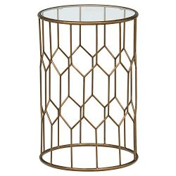 Rivet GeoMetro Modern Glass and Metal End Table, 15.6″ W, Gold Finish