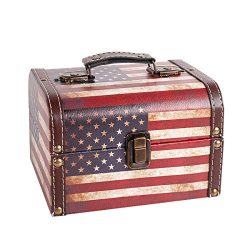 WaaHome Wood Treasure Chest Box Vintage American Flag Style Decorative Treasure Boxes for Men Wo ...