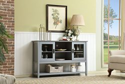 Mixcept 55″ Modern and Contemporary Wood Console Storage Tall TV Media Stand Sideboard Buf ...