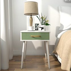 Lifewit Square Nightstand Side End Table, Modern Collection Sofa Table with Green Drawer, White