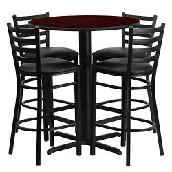 "Flash Furniture 30"" Round Mahogany Laminate Table Set with 4 Ladder Back Metal Barstools & ..."