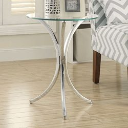 Glass Top Chrome Base Round Side End Table