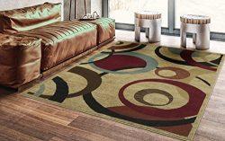 Ottomanson Royal Collection Contemporary Abstract Circle Design Area Rug, 5'3″ X 7&# ...
