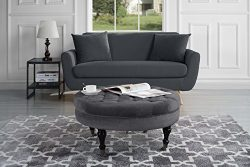 Divano Roma Furniture – Round Tufted Velvet Coffee Table with Casters, Ottoman with Wheels ...