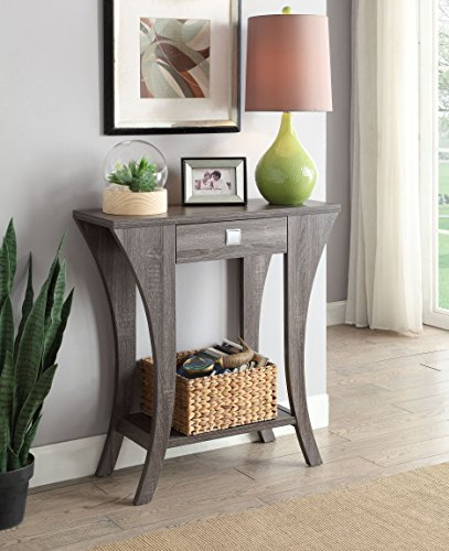 Weathered Grey Finish Console Sofa Entry Table with Drawer