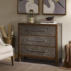 Madison Park Tracer 3 Drawer Chest Brown Multi/Walnut See below