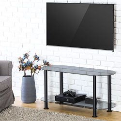 FITUEYES Classic Grey Tempered Glass Coffee Table Tv Stand Suit for up to 46-inch LCD LED Oled T ...