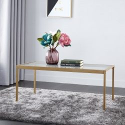 Mainstays Tempered Glass and Metal Coffee Table Collection, Gold
