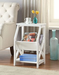 White Finish Wooden X-Design Chair Side End Table Magazine Holder with 3-tier Shelf
