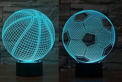 FLYMEI Basketball & Soccer Ball 3D Illusion Lamp 7 Colors Changing Unique Night Light for Ho ...