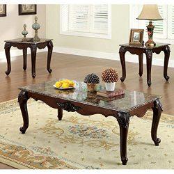 247SHOPATHOME Idf-4423-3PK Living-Room-Table-Sets, Cherry