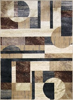Adgo Atlantic Collection Modern Abstract Geometric Circular Soft Pile Contemporary Carpet Thick  ...