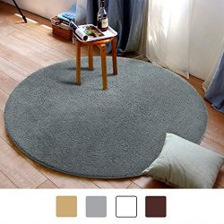 MAYSHINE Round39 inch Light Gray Non-slip Soft Microfber Mat Luxurious Area Rug Machine-washable ...