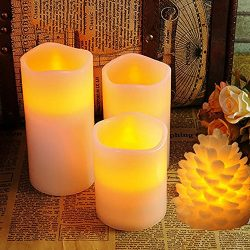 Megadream Real Wax Flameless Candles Flickering Pillar – 12 Colors Changing LED Lights wit ...