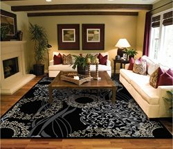 Luxutry Modern Rugs for Living Dining Room Black Cream Beige Rug Large 8×11 Contemporary Ru ...