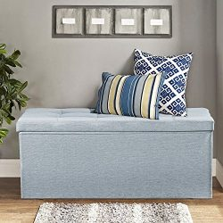 Lifewit 32inch Foldable Storage Ottoman Bench Linen Large Storage Chest Foot Rest Stool Entryway ...