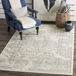 Safavieh Adirondack Collection ADR101B Ivory and Silver Oriental Vintage Distressed Area Rug (9& ...
