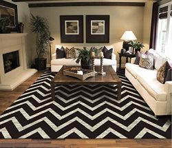 Large Chevron Pattern Rugs For Living Room Black Cream 8×11 Wavy 8×10 Modern Rugs Zig  ...