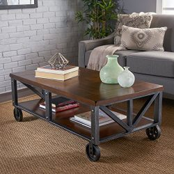 Dresden Industrial Dark Brown Faux Wood Coffee Table with Antique Black Iron Frame