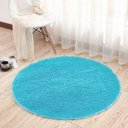 Noahas 4-Feet Luxury Round Area Rugs Super Soft Living Room Bedroom Carpet Woman Yoga Mat, Blue