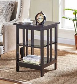 Espresso Finish Wooden Chair Side End Table with 3-tier Shelf