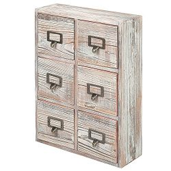 6 Drawer Torched Wood Desktop Storage Cabinet with Metal Label Pulls, Craft Supplies Organizer