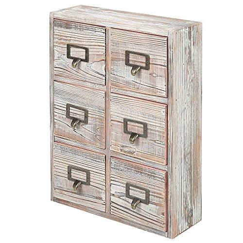 6 Drawer Torched Wood Desktop Storage Cabinet with Metal Label Pulls, Craft Supplies Organizer