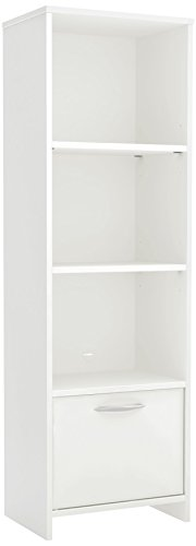 South Shore Step One 3-Shelf Bookcase with Door, Pure White
