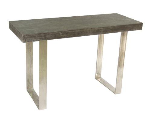 Treasure Trove Accents 17474 Portland Sofa/Console Table, Concrete Grey/Nickel