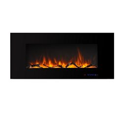 Valuxhome Luxey 42″ 750W/1500W, Wall Mounted Flat Electric Fireplace, Touch Screen Control ...