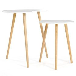 SONGMICS Set of 2 Scandinavian Round Nesting End Side Table with Solid Pine legs, Nature White C ...