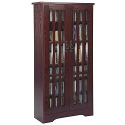 Pemberly Row 62″ 2 Door CD DVD Media Storage Cabinet in Dark Cherry