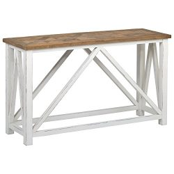 Stone & Beam Coastal Breeze Console Table, 55.1″ W, Natural and White