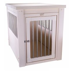 Contemporary Wood End Table Pet Crate and Kennel with Stainless Steel Spindles – Includes  ...