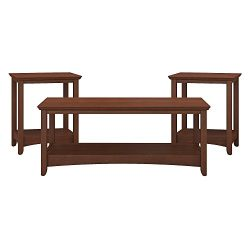 Bush Furniture Buena Vista Coffee Table and Set of 2 End Tables in Serene Cherry