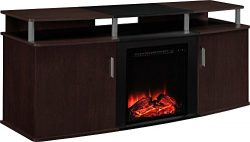 Altra Furniture Carson Fireplace TV Console, 70″, Cherry/Black