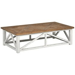 Stone & Beam Coastal Breeze Coffee Table, 55.1″ W, Natural and White