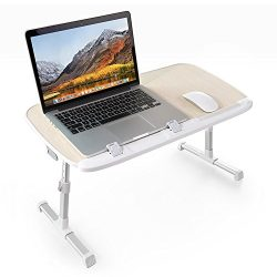 TaoTronics Foldable Laptop Table, Height Adjustable Bed Desk, Wide Stand up Desk for Reading, So ...