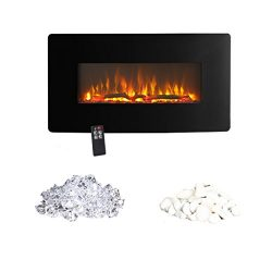 Innoflame E35c Wall Hanging Electric Fireplace Heater with Remote Control, 36 Inch Wide,1400W ( ...