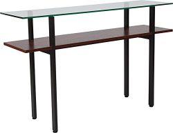 Contemporary Sleek Design Modern Glass Console Table with Walnut Finish Shelf